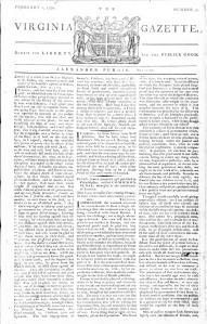 Alexander Purdie's 2 February 1776 edition of the Virginia Gazette.
